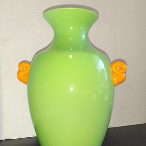 Mid Century Modern Vase Green YellowOrange Handles